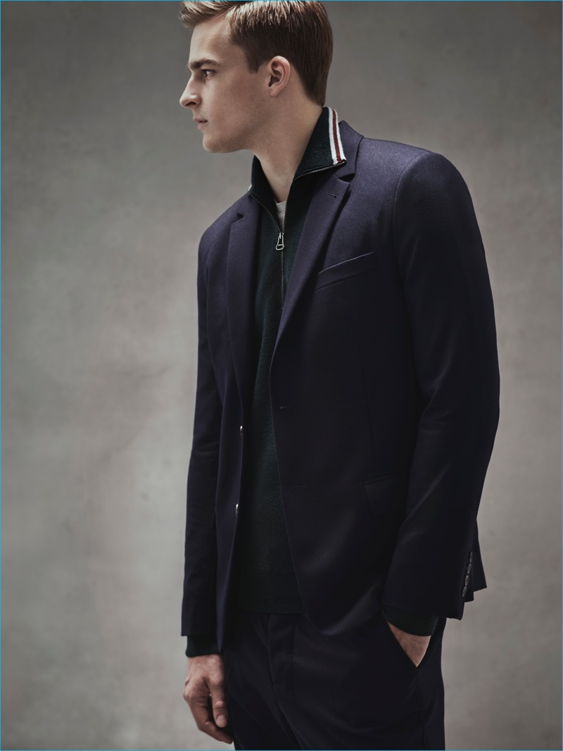 Thorben Gartner wears zip sweater Lanvin, t-shirt Julien David, blazer and trousers Ami.
