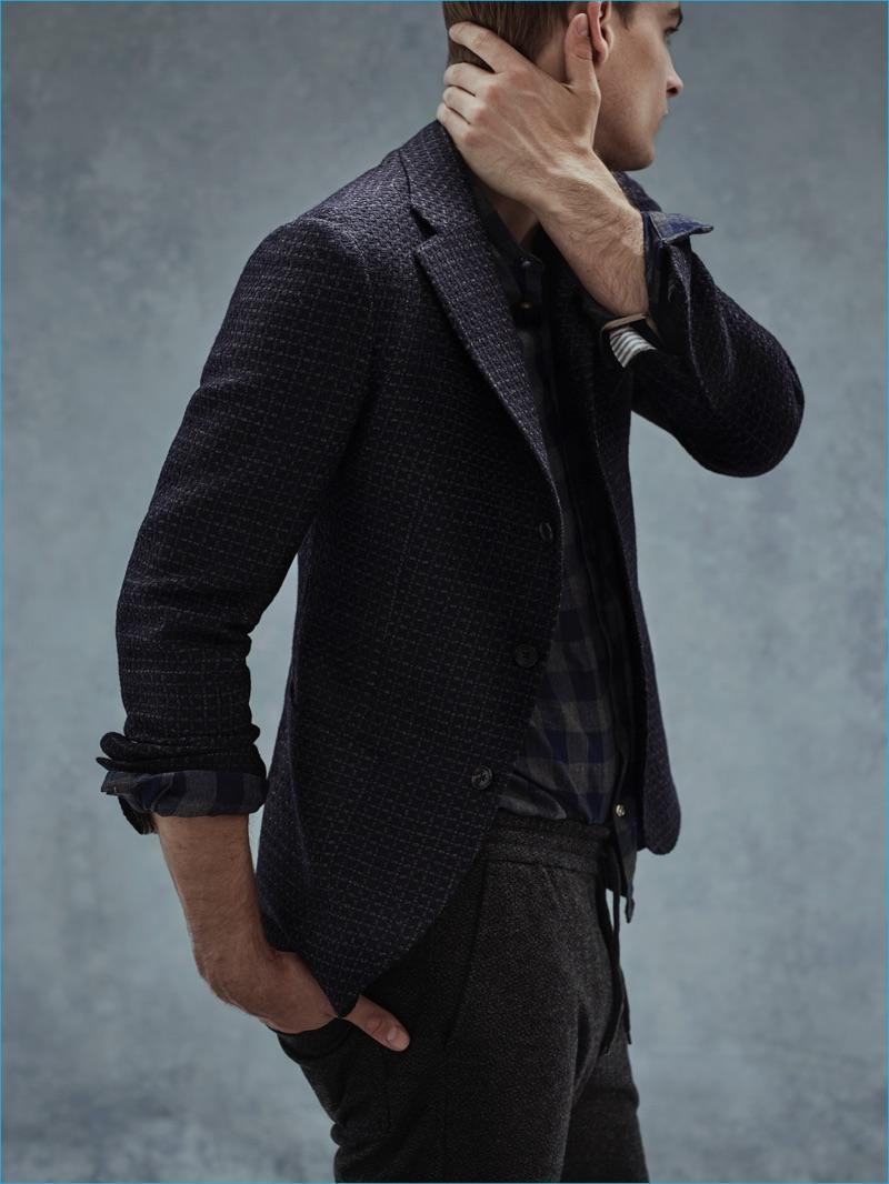 Urban Gentleman: Thorben Gartner wears blazer Borrelli, shirt Dnl, and track pants Barena.