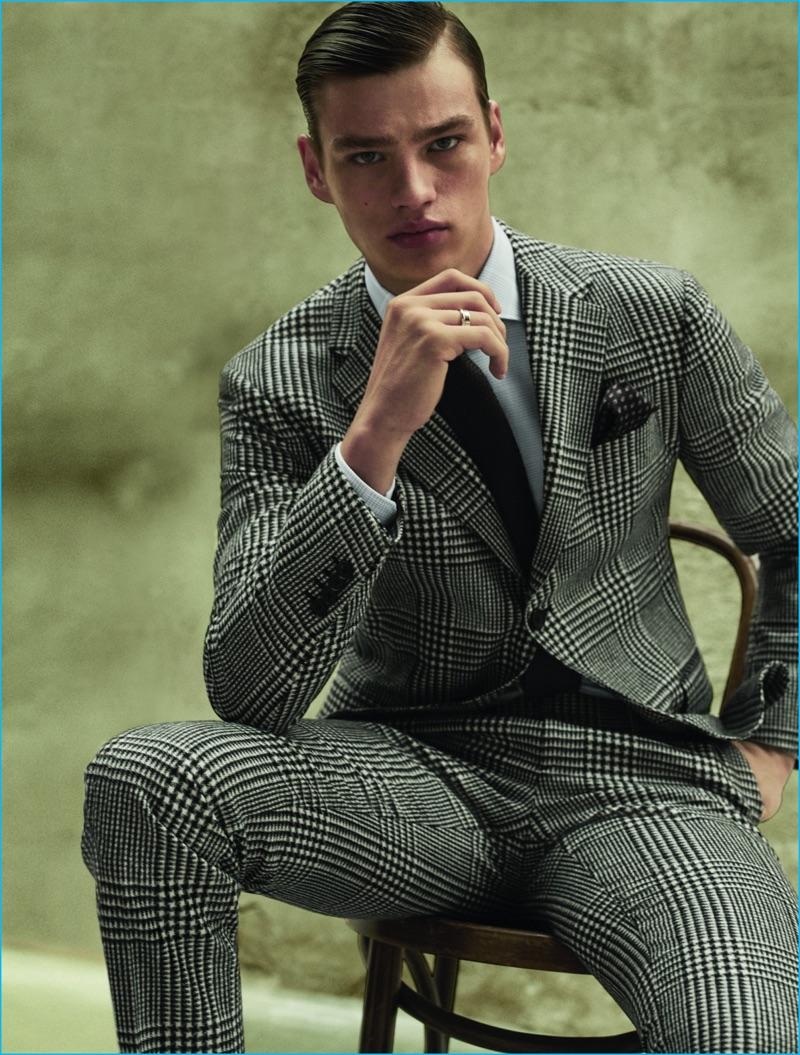 Filip Hrivnak embraces a classic houndstooth print in a Salvatore Ferragamo suit.