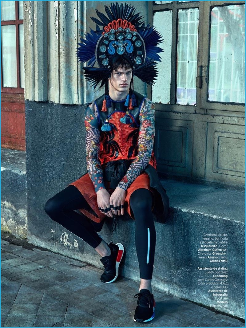 Filip Hrivnak pictured in fashions from Dsquared2 and Givenchy for GQ Brasil.