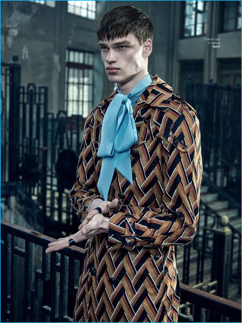 Filip Hrivnak channels his inner dandy in a patterned look from Gucci.