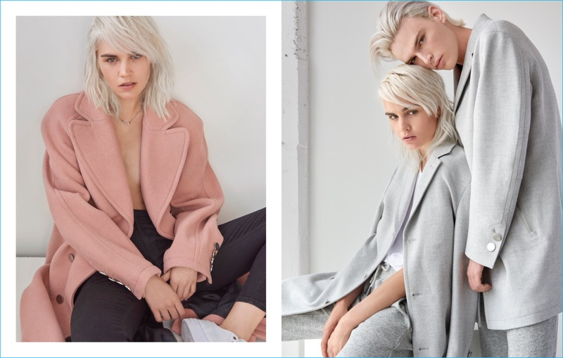 GUESS embraces a soft pink and grey color palette for sleek coats from its His & Hers collection.