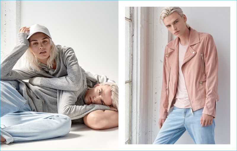 GUESS proposes leisure with its grey hoodies or a more city look with its statement biker jacket.