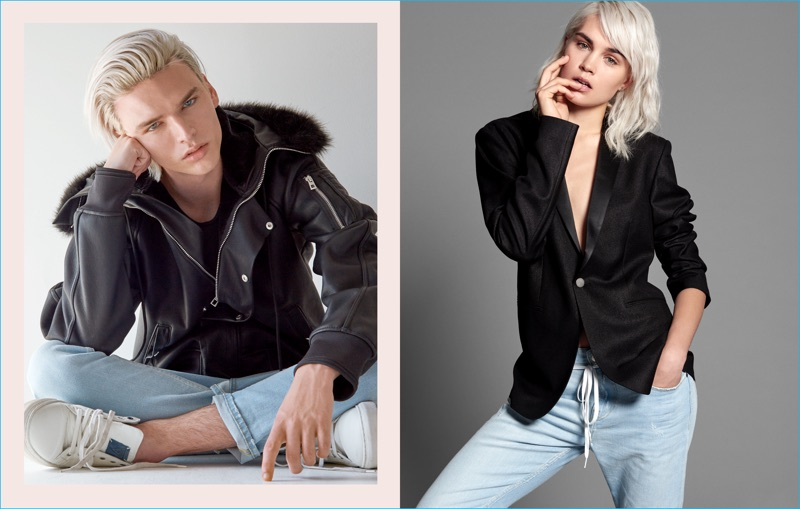 Models Damon Nelson and Anastasia Eremenko photographed by Yu Tsai for GUESS' His & Hers collection.