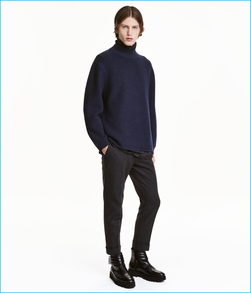 e3088e54fe0447 H&M Studio Wool Blend Jacket · H&M Studio Wool Mock Turtleneck Sweater
