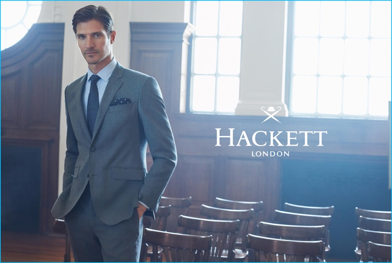 Matias Beck dons a grey suit for Hackett London's fall-winter 2016 advertising campaign.