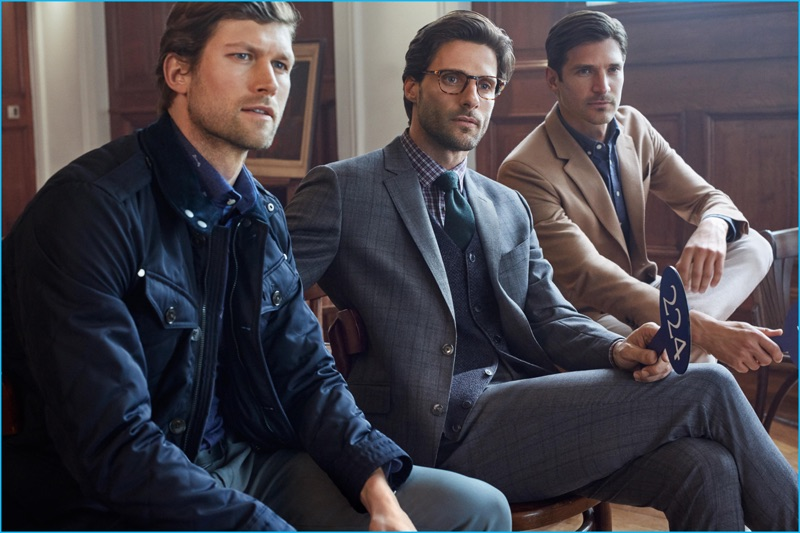 Models Jan Trojan, Tommy Dunn, and Matias Beck front Hackett London's fall-winter 2016 campaign.