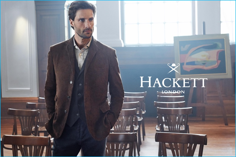 Donning fine tailoring, Tommy Dunn stars in Hackett London's fall-winter 2016 campaign.