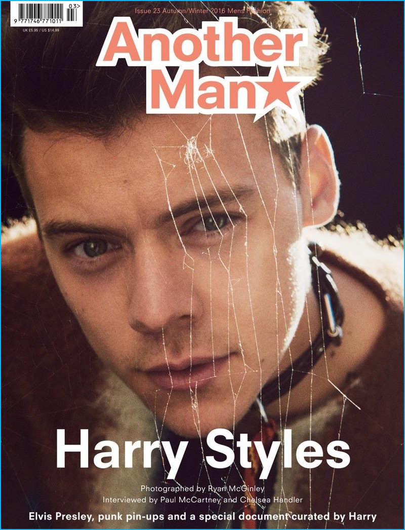 Harry Styles covers Another Man, photographed by Ryan McGinley.