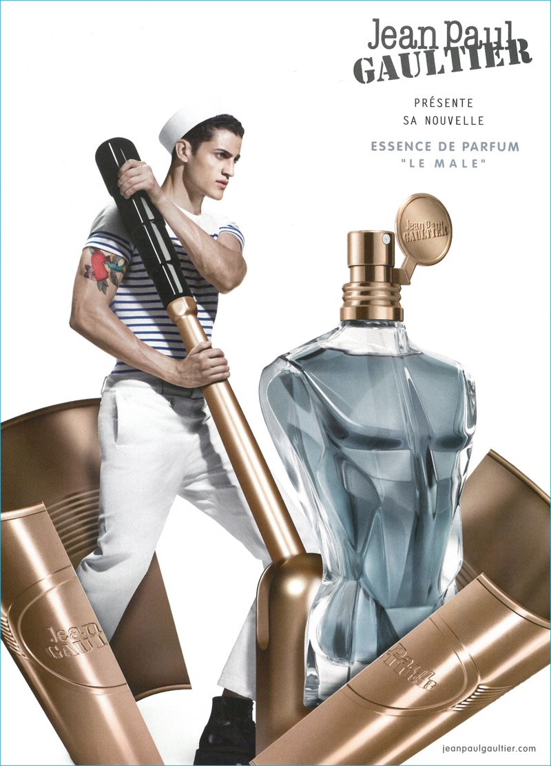 Model Chris Bunn fronts Jean Paul Gaultier's Le Male Essence de Parfum fragrance campaign.