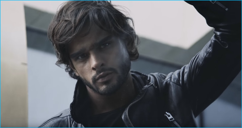 fd26c3875335 Marlon Teixeira pictured in a leather biker jacket for Jimmy Choo Man  Intense s campaign film.