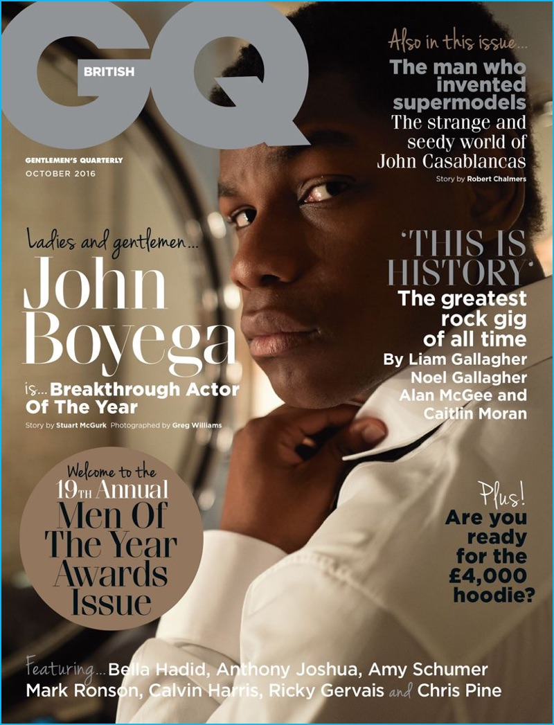 Breakthrough Actor of the Year, John Boyega covers the October 2016 edition of British GQ for the magazine's Men of the Year issue.