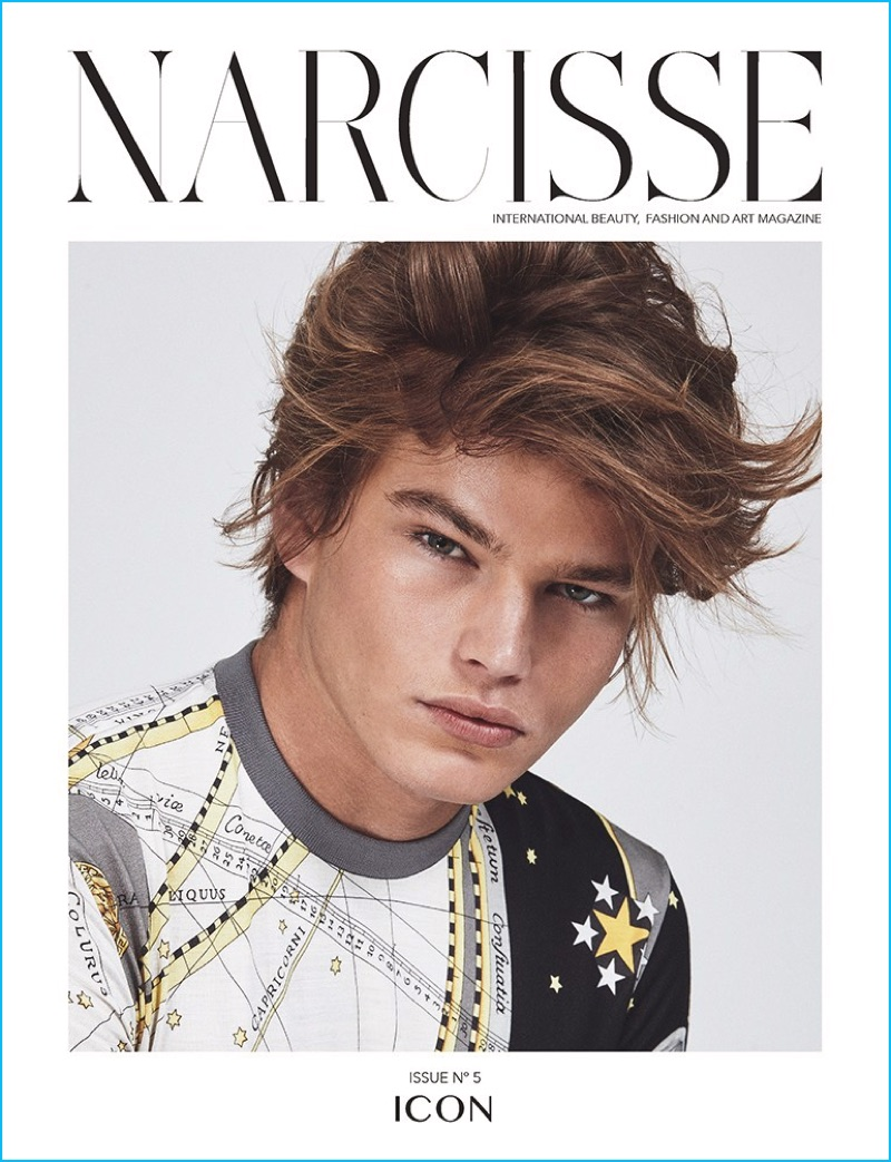 Jordan Barrett covers the Icon issue of Narcisse magazine in Versace.