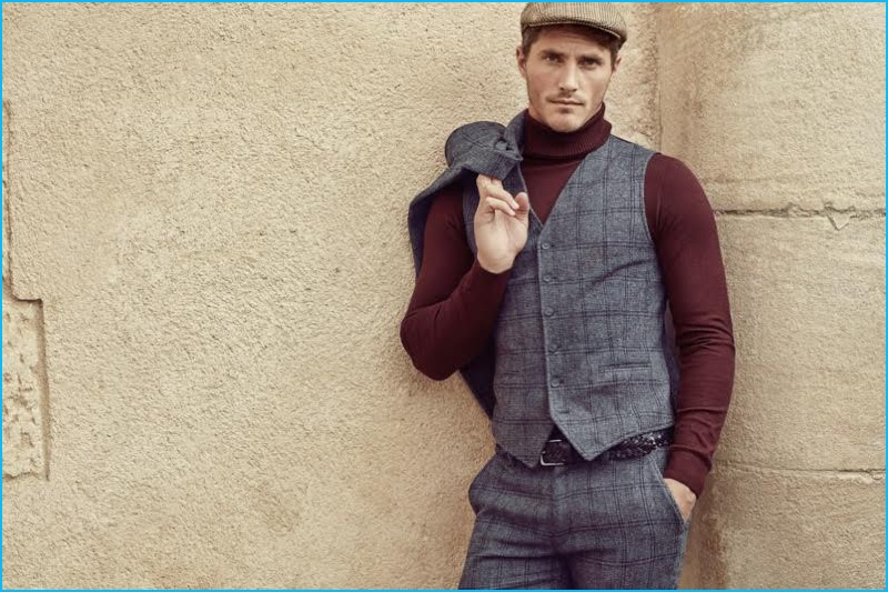 Ollie Edwards dons a check waistcoat and trousers with a turtleneck sweater and newsboy cap for Koton Men's fall-winter 2016 campaign.