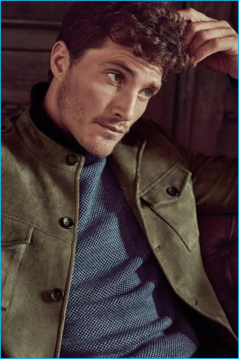 Ollie Edwards pictured in a suede jacket for Koton Men's fall-winter 2016 campaign.
