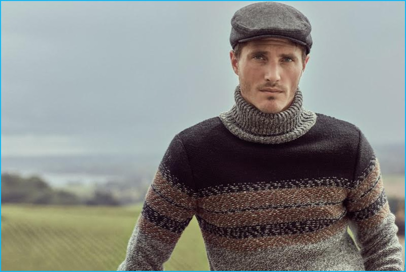 Ollie Edwards is front and center in a gradient sweater and newsboy cap for Koton Men's fall-winter 2016 campaign.