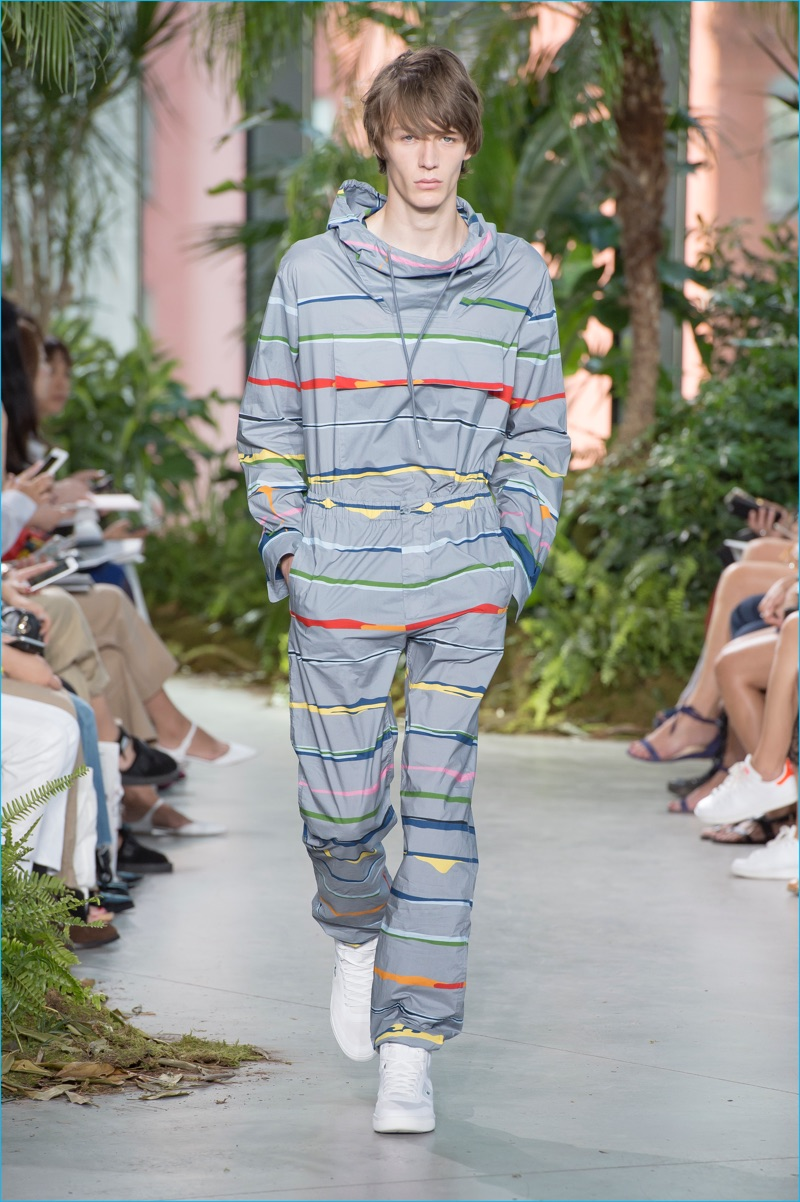 Lacoste goes sporty with stripes for spring-summer 2017.