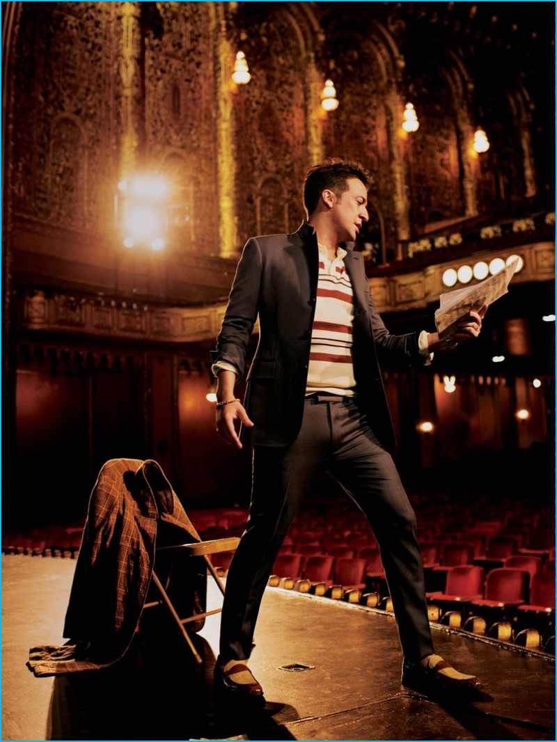 Lin-Manuel Miranda takes the stage in a Louis Vuitton suit with a vintage polo from Gap and Stacy Adams loafers for GQ.