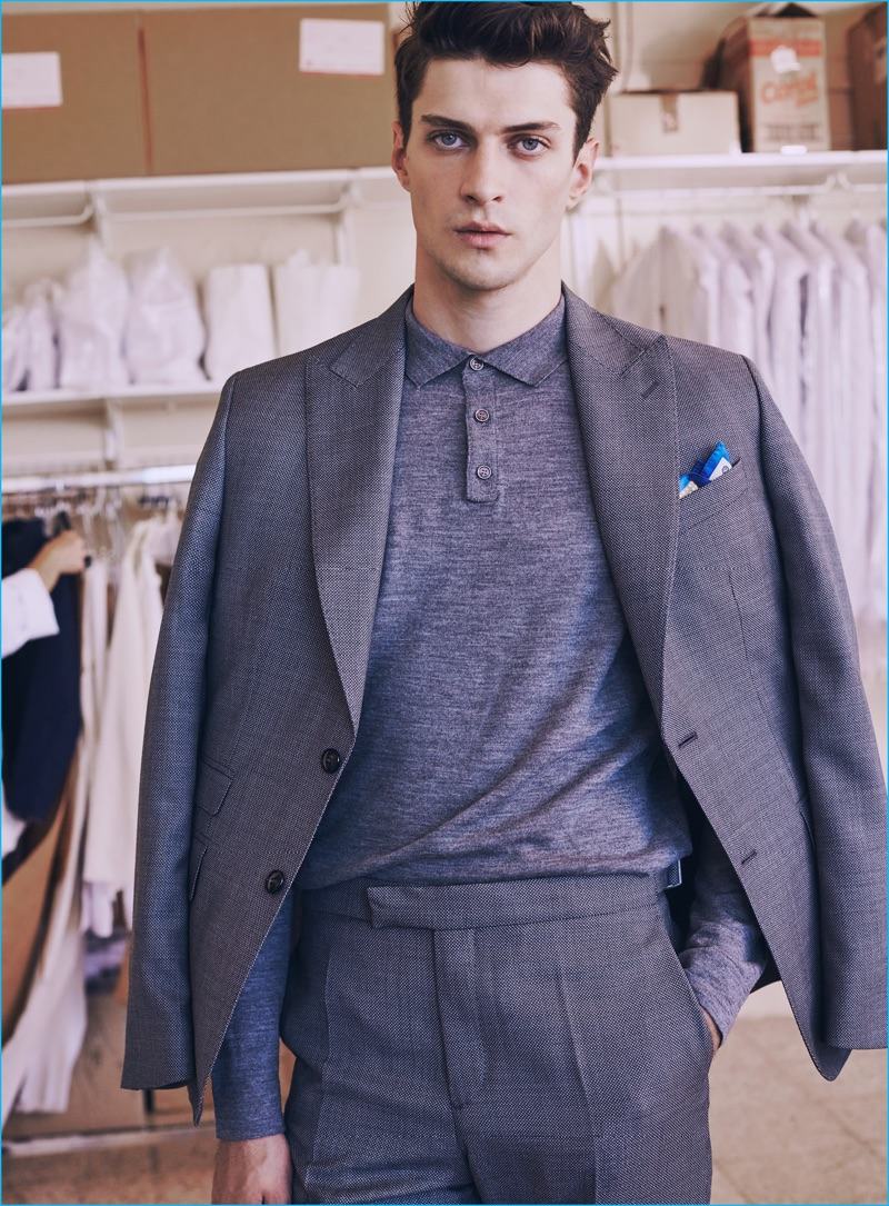 Matthew Bell dons a Mango Man suit with a polo for the brand's tailored style guide.