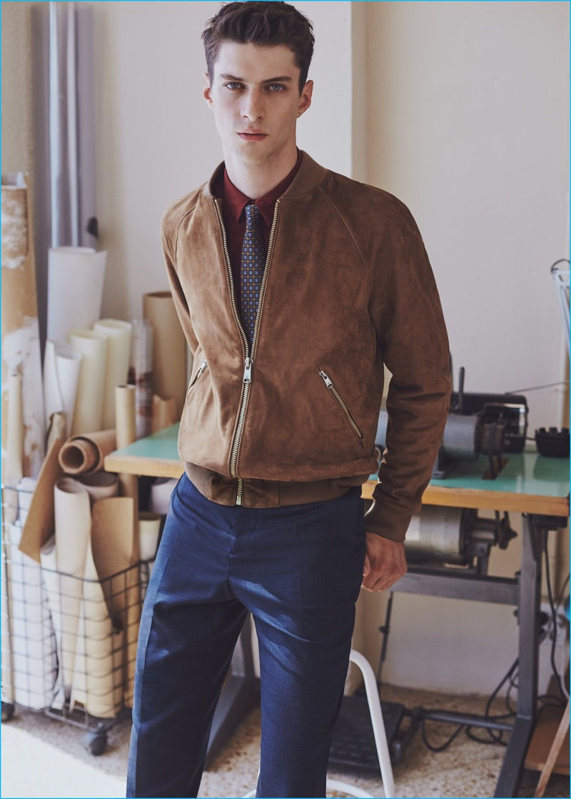 Matthew Bell updates the shirt and tie look with Mango Man's suede bomber jacket.