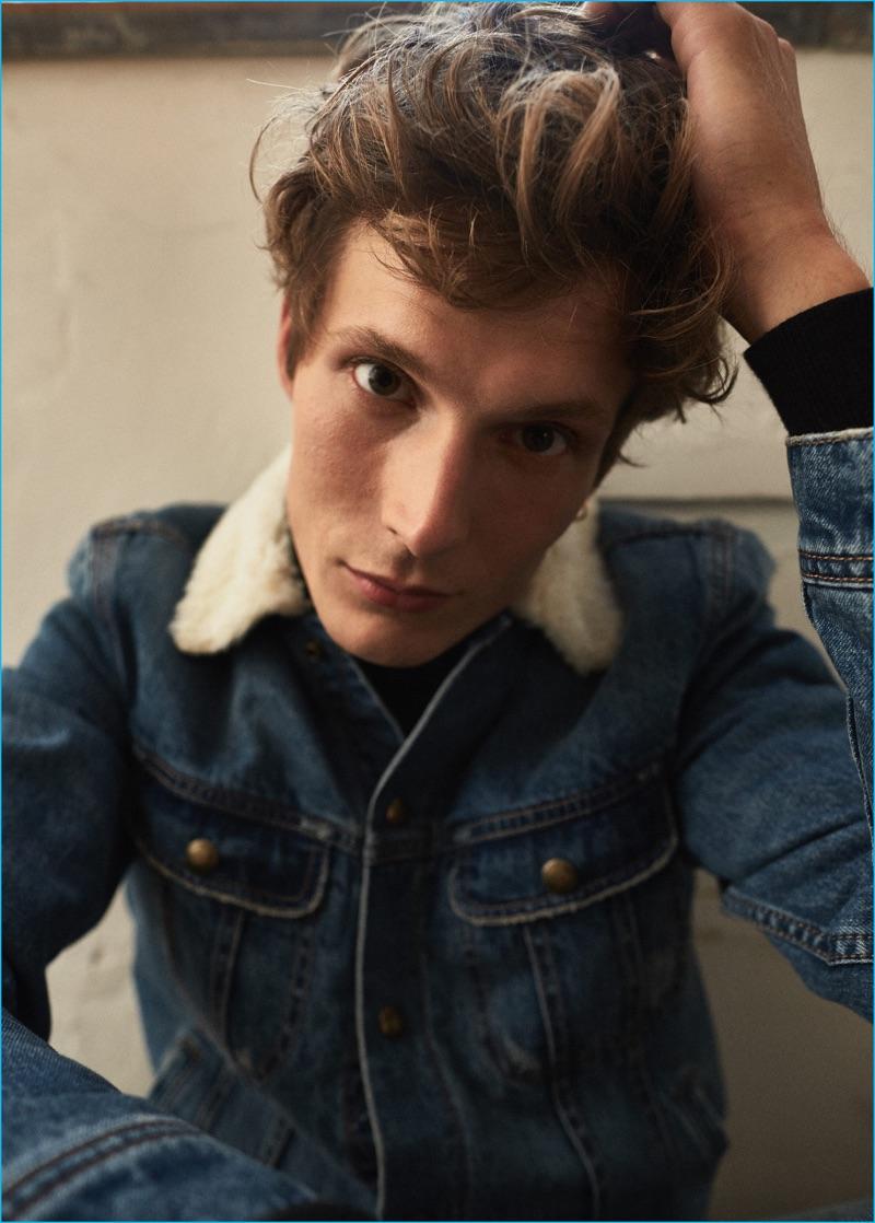 Felix Gesnouin goes casual in a faux shearling lined denim jacket from Mango Man.