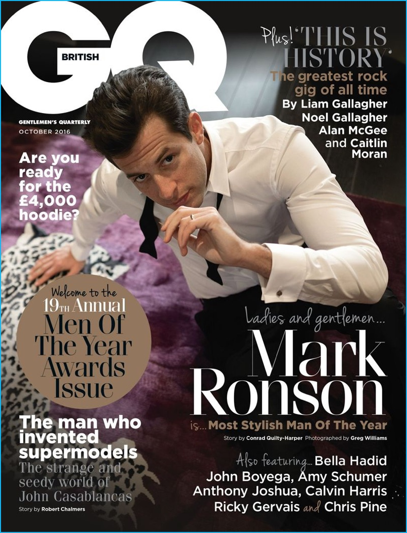 Most Stylish Man of the Year, Mark Ronson covers the October 2016 edition of British GQ for the magazine's Men of the Year issue.