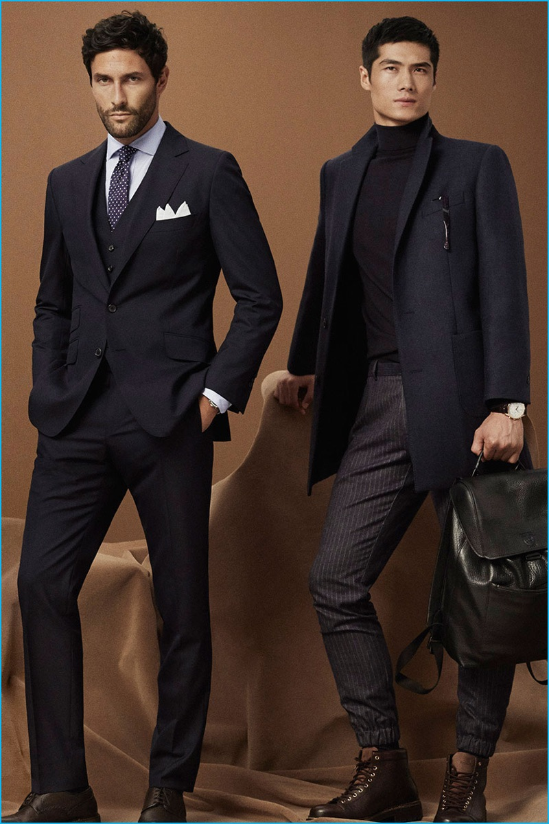 Noah Mills dons a sharp three-piece suit from Massimo Dutti, while Hao Yun Xiang embraces smart staples, which include tailored pinstripe joggers and a turtleneck.