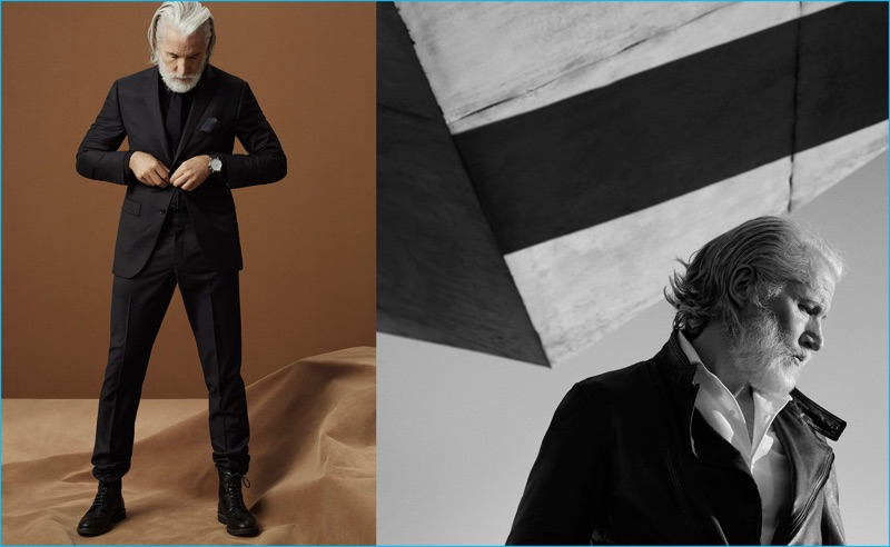 Aiden Brady is a dashing vision in fall-winter 2016 tailoring from Massimo Dutti.