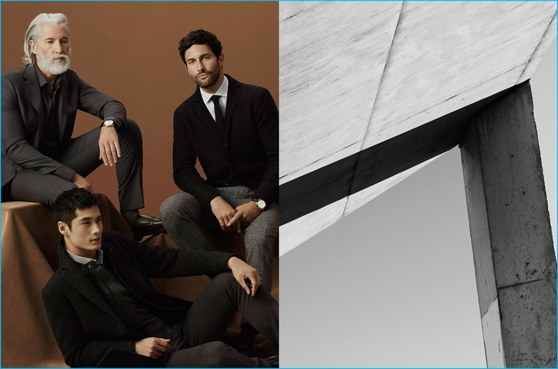 Models Aiden Brady, Hao Yun Xiang, and Noah Mill front Massimo Dutti's Contemporary Tailoring outing.