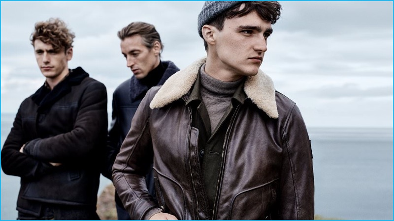 48577b3c05d Touch of Shearling (Left to Right): Prada Shearling Jacket, Brioni  Shearling Bomber