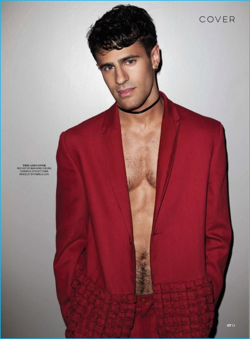 Neil Amin-Smith dons a red Wan Hung Cheung suit for Gay Times.