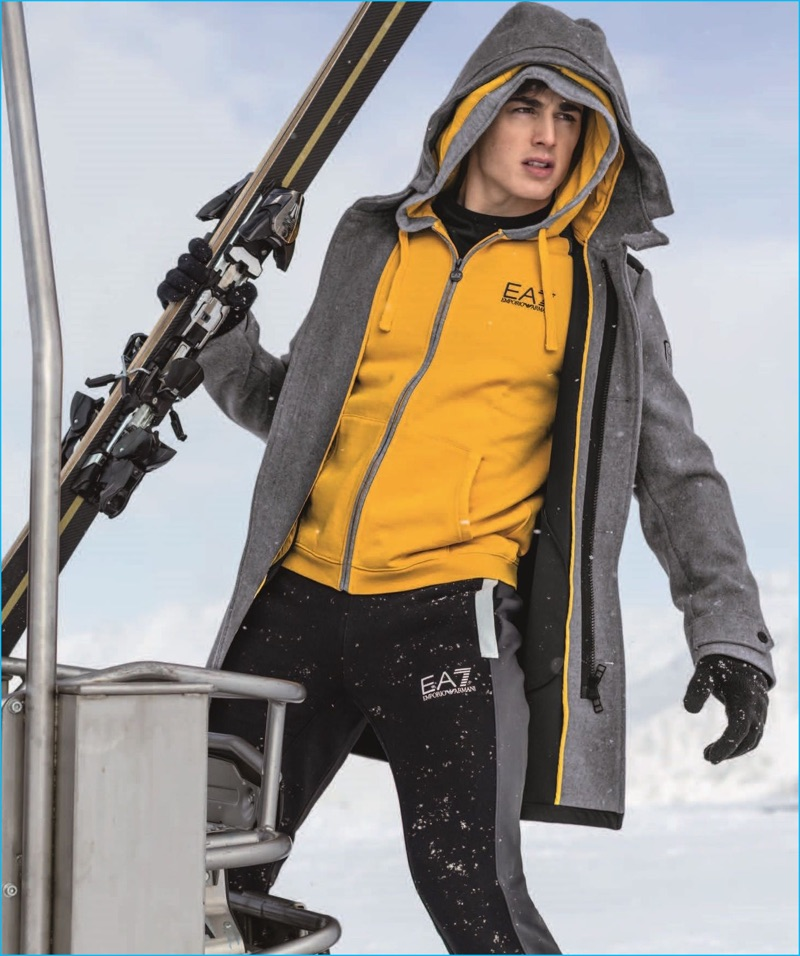 Pietro Boselli is an active winter vision in fashions from EA7's fall-winter 2016 line.