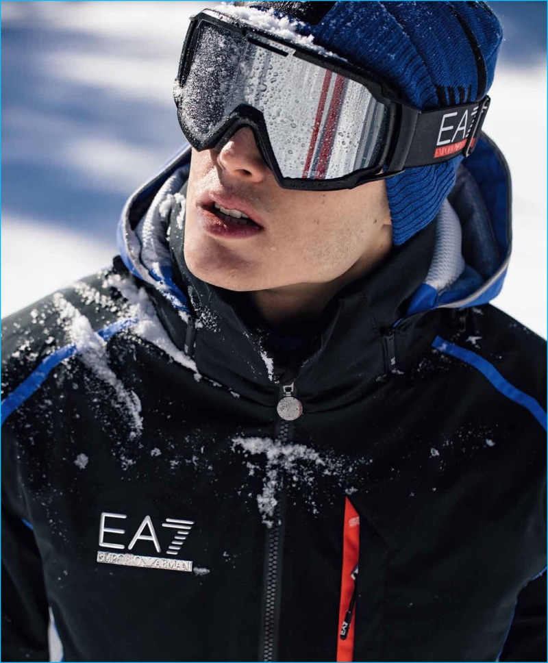 Pietro Boselli braces the elements for EA7's fall-winter 2016 outing.