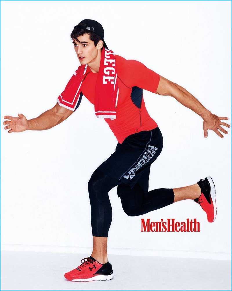 Pietro Boselli makes a splash in red and black for his Men's Health China photo shoot.