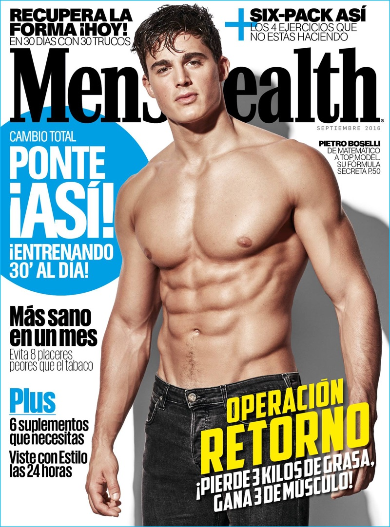 Pietro Boselli covers the September 2016 issue of Men's Health España.