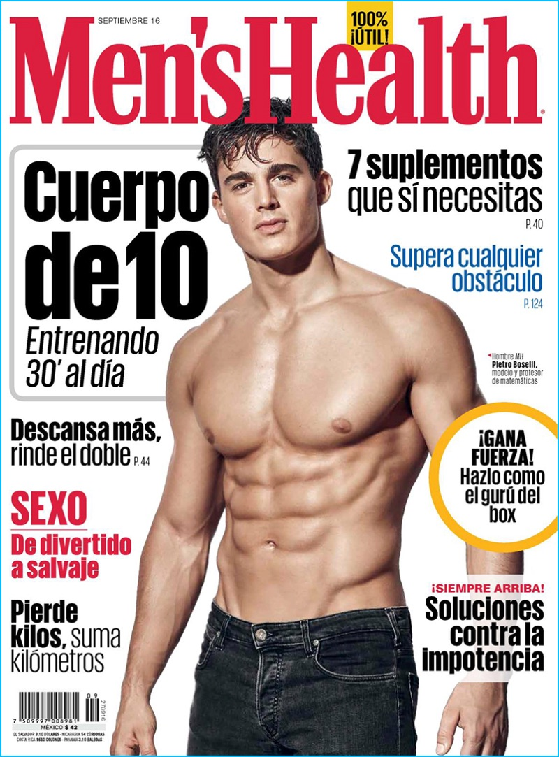 Pietro Boselli covers the September 2016 issue of Men's Health Mexico.