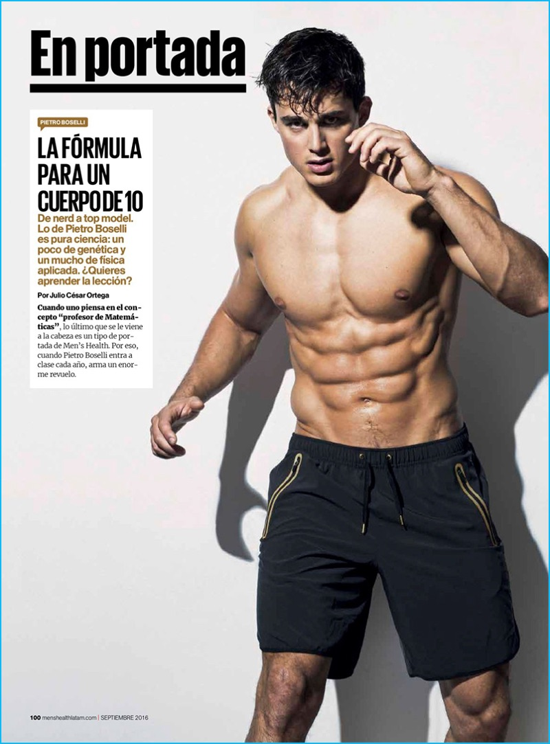 Pietro Boselli is an active vision for the September 2016 issue of Men's Health Mexico.