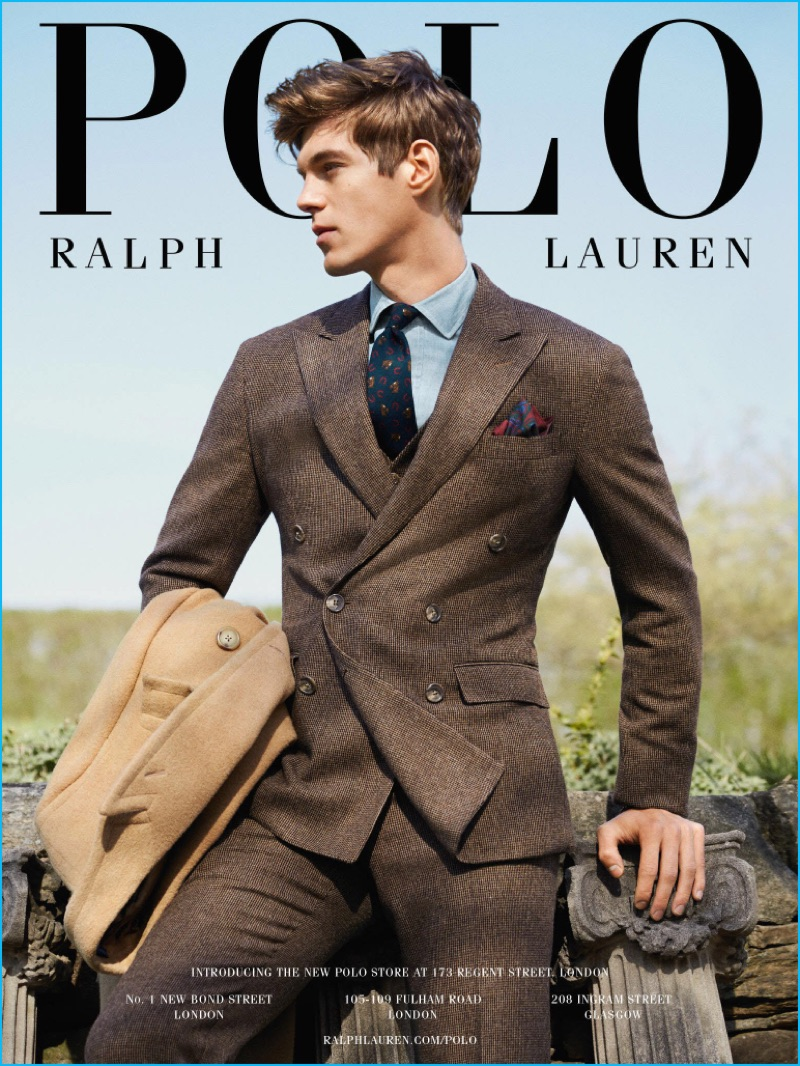 Bertold Zahoran sports Polo Ralph Lauren's three-piece Morgan suit for the brand's fall-winter 2016 campaign.