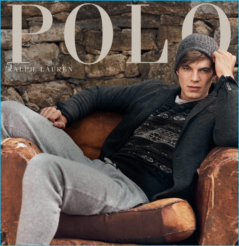 Bertold Zahoran goes casual in a knit blazer and grey athletic pants for Polo Ralph Lauren's fall-winter 2016 campaign.