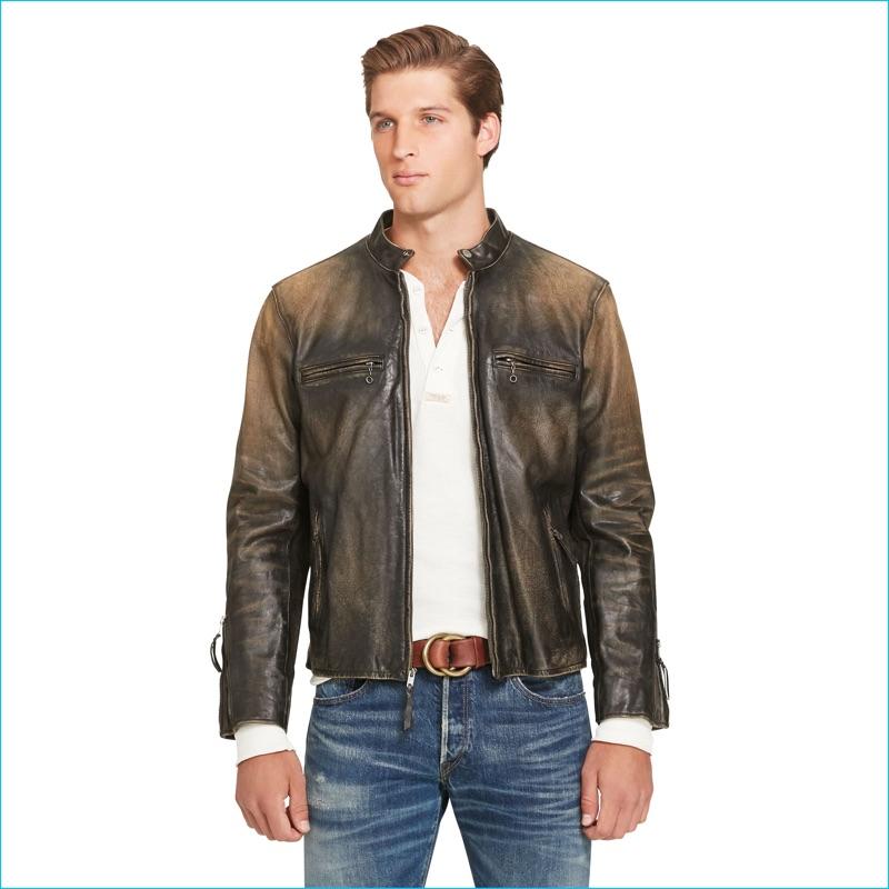 ... Vest · Polo Ralph Lauren Brown Leather Café Racer Jacket