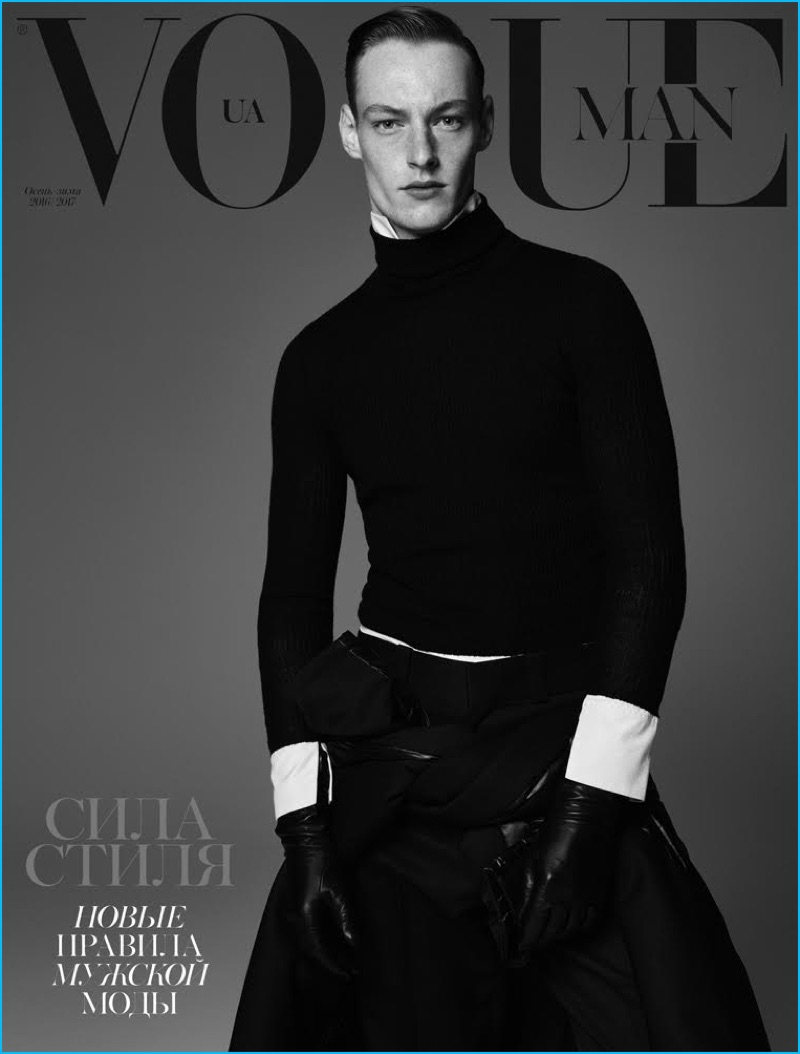 Roberto Sipos covers the October 2016 issue of Vogue Ukraine Man.