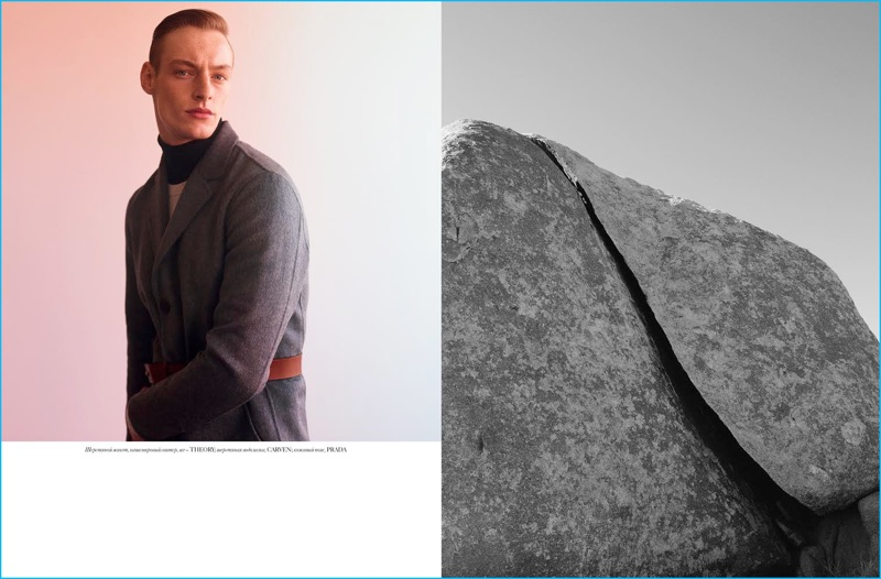 Roberto Sipos channels a military style aesthetic in Theory, Carven, and Prada for Vogue Ukraine Man.