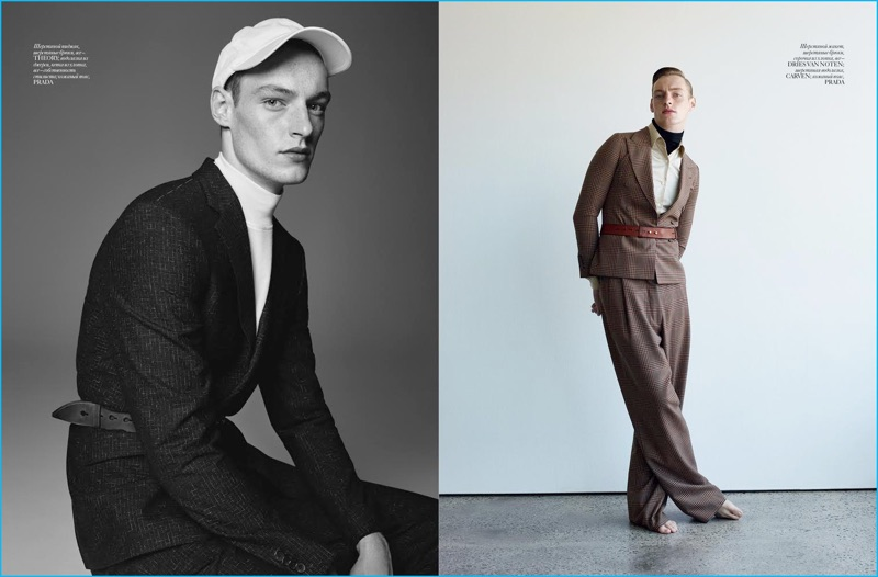 Roberto Sipos dons belted styles for Vogue Ukraine Man, wearing looks from Theory, Prada, Dries Van Noten, and Carven.