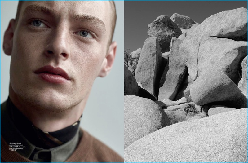 Roberto Sipos is ready for his close-up, posing for Vogue Ukraine Man in Dries Van Noten and Theory.