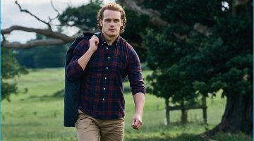 Sam Heughan Models Barbour's Tartan Shirts for Autumn Shoot