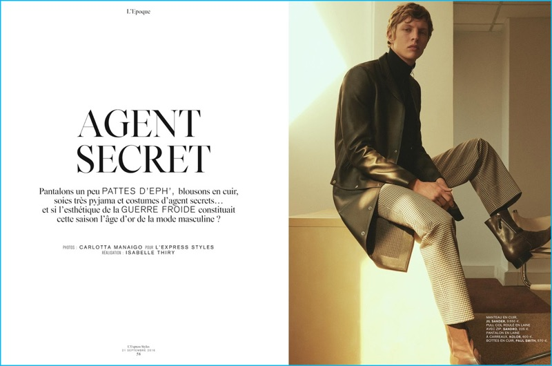 1ccf25705 Secret Agent: Tim Schuhmacher Dons Luxe Fall Fashions for L'Express ...