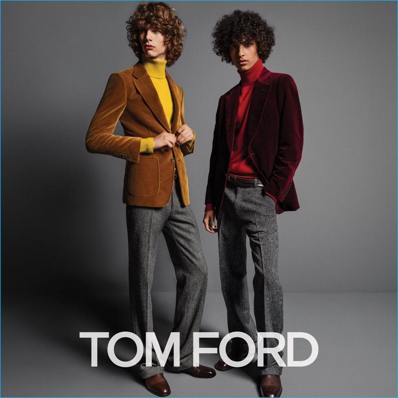 Models Erik van Gils and Tre Samuels don velvet jackets and cashmere turtleneck sweaters for Tom Ford's fall-winter 2016 men's campaign.