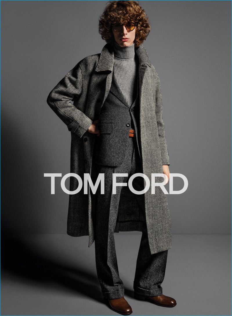 Erik van Gils dons relaxed tailoring and a turtleneck sweater for Tom Ford's fall-winter 2016 menswear campaign.