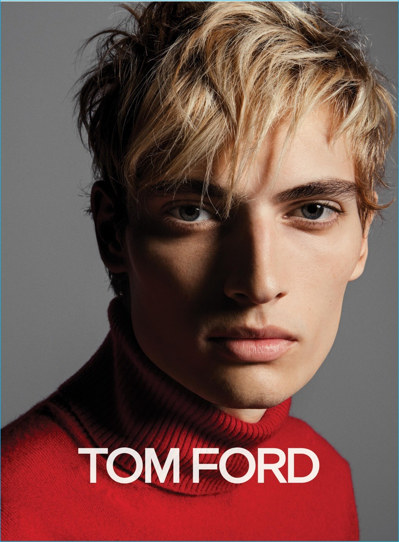 Model Trevor Drury pictured in a red turtleneck sweater for Tom Ford's fall-winter 2016 menswear campaign.