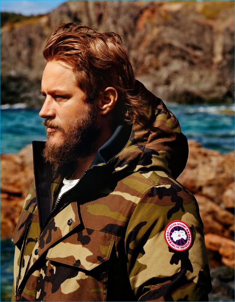 Travis Fimmel sports a camouflage jacket for Canada Goose's fall-winter 2016 campaign.